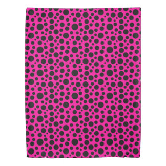 Dark Pink w/Black Circles Duvet Cover