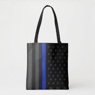 Dark Police Style American Flag Tote Bag