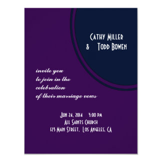 Dark purple and blue modern circle wedding card
