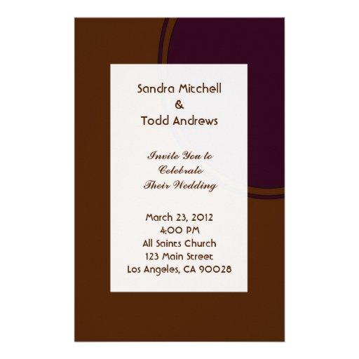 Dark purple and Brown modern Wedding Stationery Design