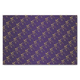 Dark Purple and Golden Floral Design Tissue Paper