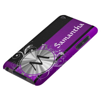 Dark purple and monogram iPod touch cover