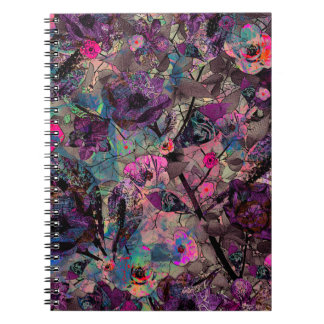Dark Purple and Pink Floral Wallpaper Notebook