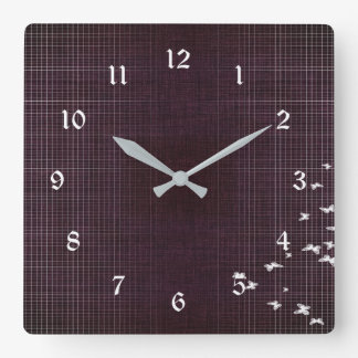 Dark Purple and White Birds Square Wall Clock