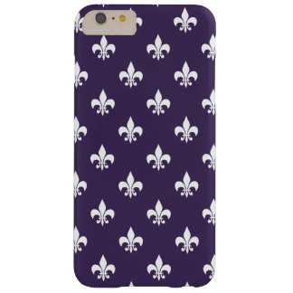 Dark Purple and White Fleur de Lis Pattern Barely There iPhone 6 Plus Case