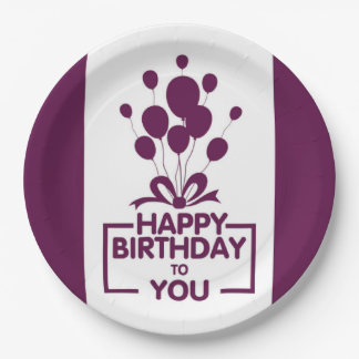 Dark Purple And White Happy Birthday Paper Plate