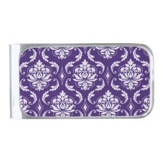 Dark Purple and White Vintage Damask Pattern Silver Finish Money Clip