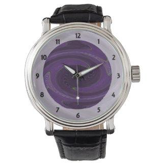 dark purple black twirl abstract wrist watches