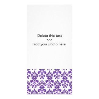DARK PURPLE DAMASK PATTERN 2 PHOTO CARD