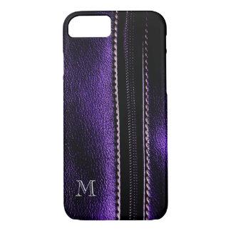 Dark Purple Faux Zipper Monogram iPhone 7 Case