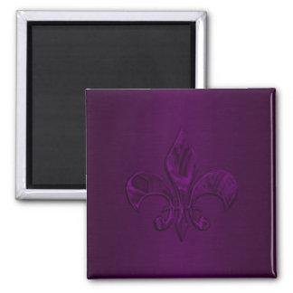 Dark Purple Fleur de Lis Square Magnet