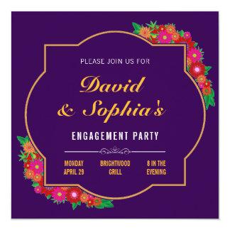 Dark Purple Floral Engagement Party Invitation