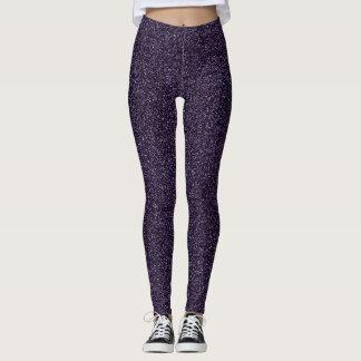 Dark purple glitter effect leggings
