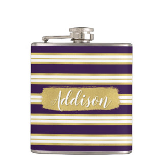 Dark Purple Gold Stripe Pattern Custom Name Hip Flask