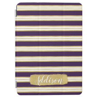 Dark Purple Gold Stripe Pattern Custom Name iPad Air Cover