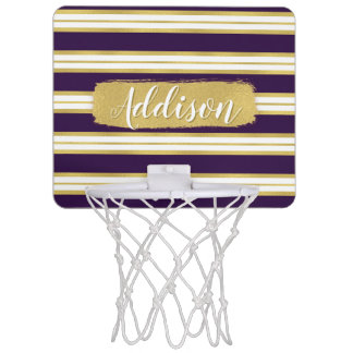 Dark Purple Gold Stripe Pattern Custom Name Mini Basketball Hoop