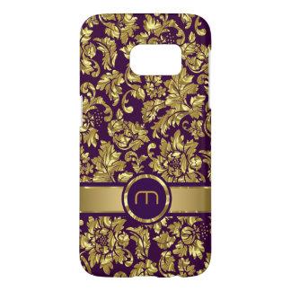 Dark Purple & Gold Vintage Floral Damasks Monogram Samsung Galaxy S7 Case