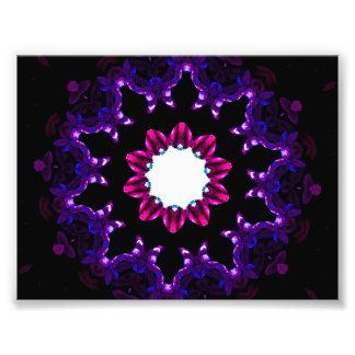 Dark Purple Kaleidoscope Mandala Photo Print