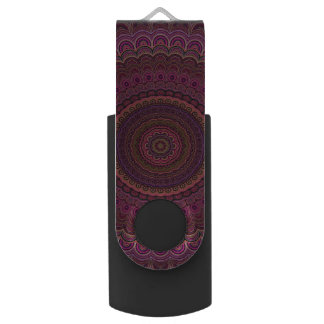 Dark purple mandala swivel USB 3.0 flash drive