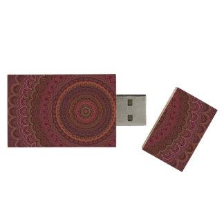 Dark purple mandala wood USB flash drive