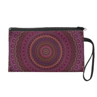 Dark purple mandala wristlet purse