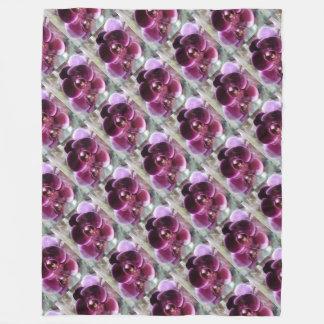 Dark Purple Moth Orchids Fleece Blanket