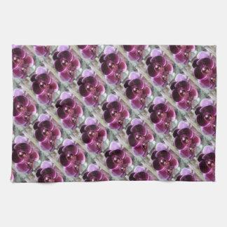 Dark Purple Moth Orchids Kitchen Towel