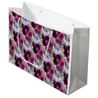 Dark Purple Moth Orchids Large Gift Bag