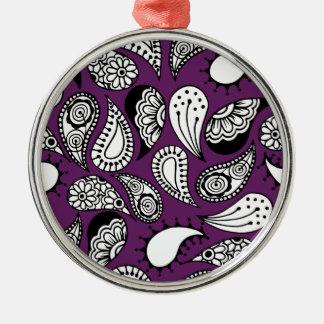 Dark Purple Paisley Metal Ornament