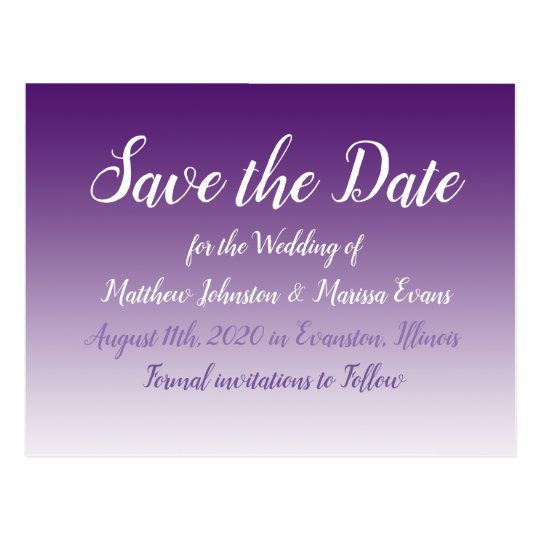 Dark Purple Personalized Save the Date Postcard