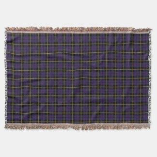 dark purple plaid print, black yellow stripe throw blanket