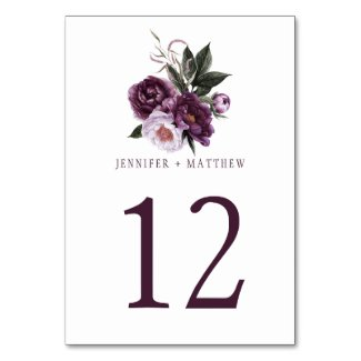 Dark Purple Plum Pink Floral Greenery Table | Table Number