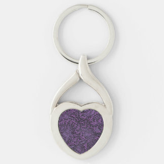 Dark Purple Regal Fabric look Silver-Colored Twisted Heart Keychain