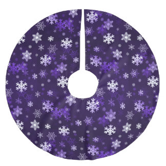 Dark Purple Schnowflakes Brushed Polyester Tree Skirt
