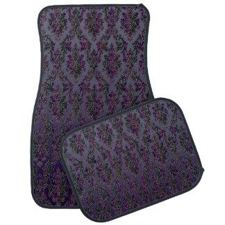 Dark Purple Silver Damask Elegant Car Floor Mats Auto Mat