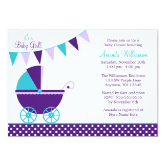 """Dark Purple Teal Bunting Carriage Baby Shower 5"""" X 7"""" Invitation Card"""