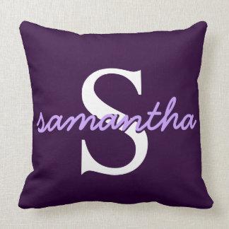 Dark Purple Throw Pillow + Cursive Monogram Script