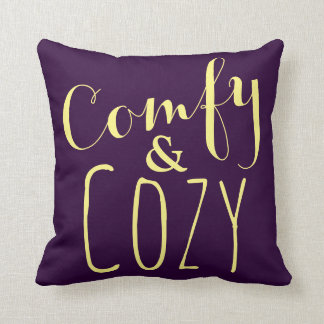 Dark Purple Throw Pillows + Yellow Text Home Decor