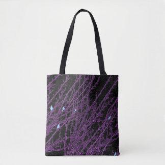 Dark Purple Tree, Blue Birds Tote Bag
