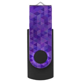 Dark purple triangle pattern swivel USB 3.0 flash drive
