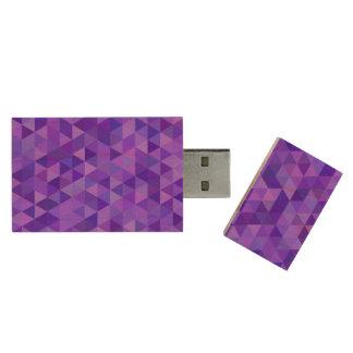 Dark purple triangle pattern wood USB flash drive