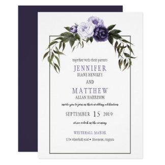 Dark Purple Violet Peonies Watercolor Weddings Card