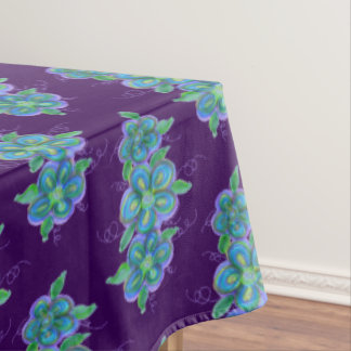 Dark Purple With Blue Floral Art Tablecloth