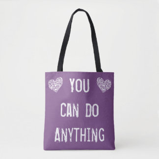 Dark Purple 'You Can Do Anything' Tote