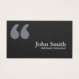 Dark Quote Marks Mortgage Agent Business Card