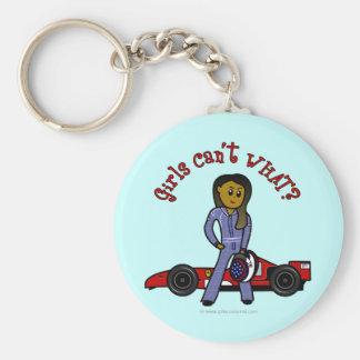 Dark Race Car Driver Girl Keychain