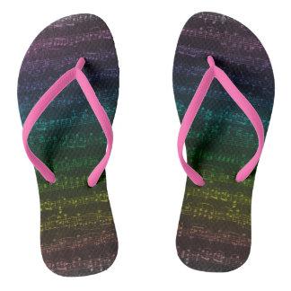 Dark Rainbow Flip Flops