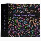 Dark Rainbow Music Notes and Clefs Binder