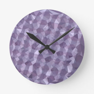 Dark Raspberry Abstract Low Polygon Background Round Clock