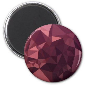 Dark Raspberry Red Abstract Low Polygon Background 2 Inch Round Magnet
